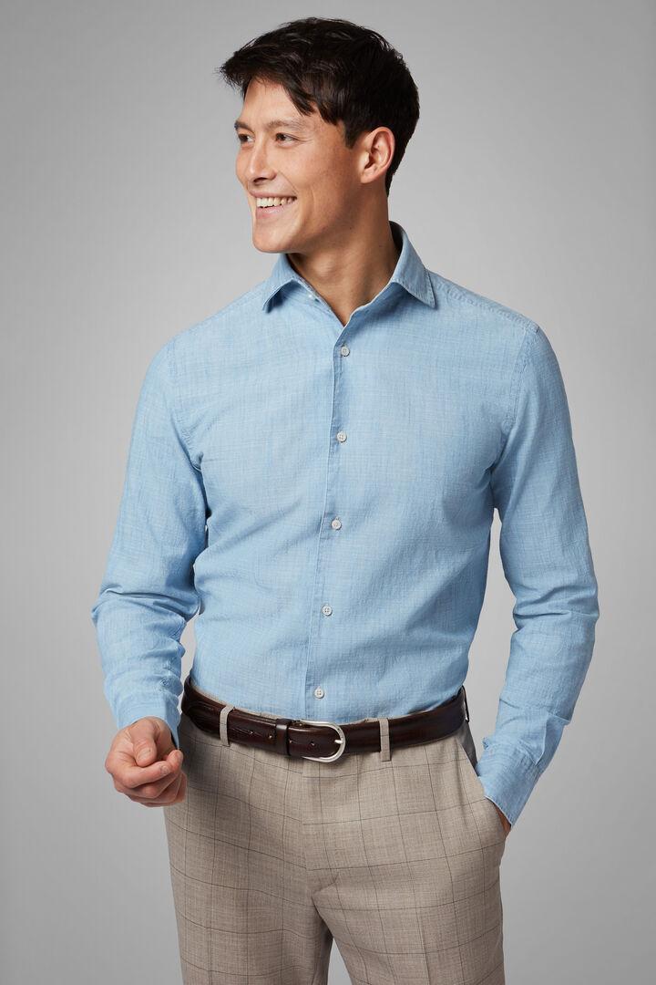 Regular Fit Light Denim Shirt With Cuban Collar, Light Denim, hi-res