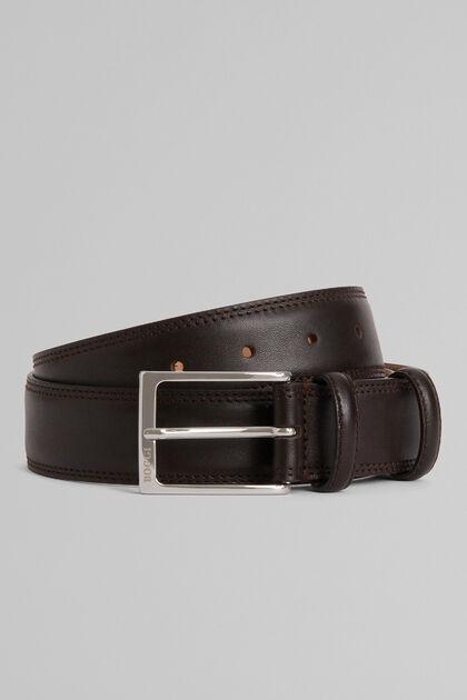 Cintura In Pelle Con Grana E Doppia Impuntura, Moro, hi-res