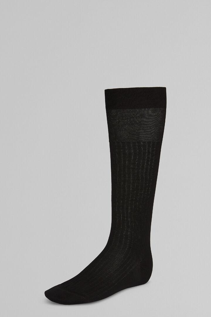 Ribbed Long Socks, Black, hi-res