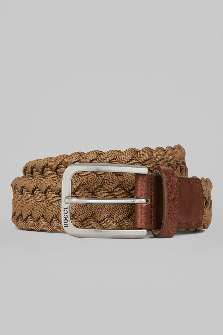 Woven Elasticated Belt, Beige - Brown, hi-res