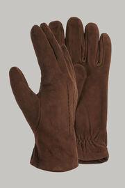 Velourslederhandschuhe, Dunkelbraun, hi-res