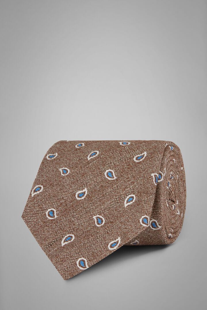 Cravatta Paisley In Seta Bourette, Marrone, hi-res