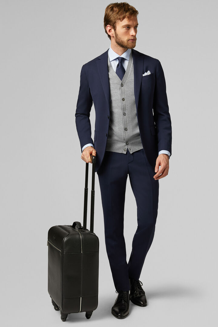 Blue Travel Wool Mantova Suit Jacket, Blue, hi-res