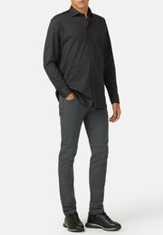 Polo camicia in jersey di cotone regular fit, Carbone, hi-res