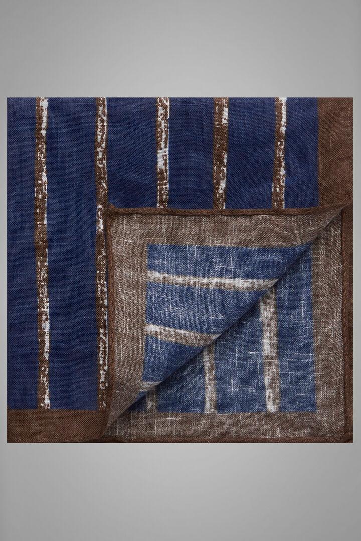 Regimental Printed Linen Pocket Square, Blue - Dark brown, hi-res