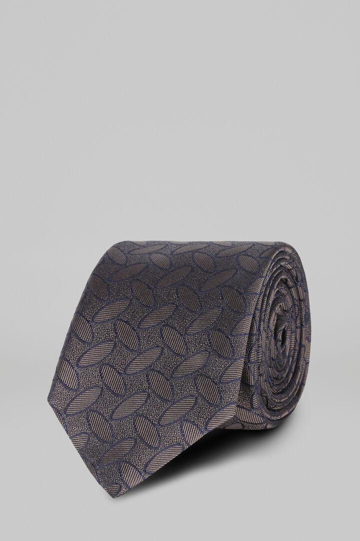 Gemusterte Krawatte Aus Seidenjacquard, Dunkelbraun, hi-res