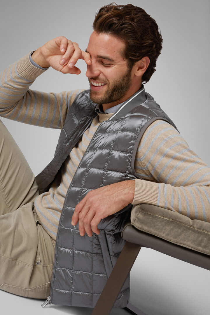 Square Quilted Nylon Gilet, Grey, hi-res