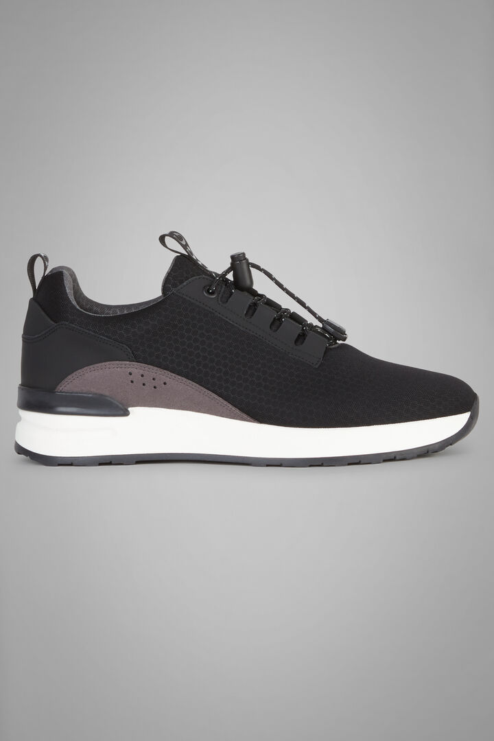 Fabric And Leather Technical Trainers, Black, hi-res