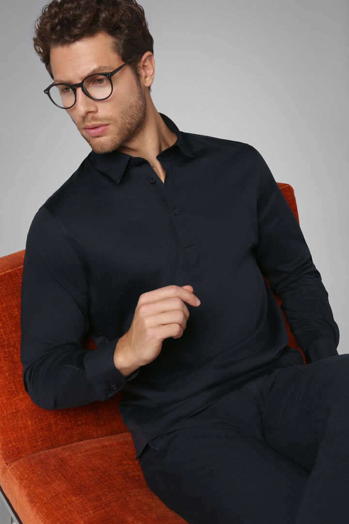 Polo Navy In Jersey Di Cotone, Navy, hi-res