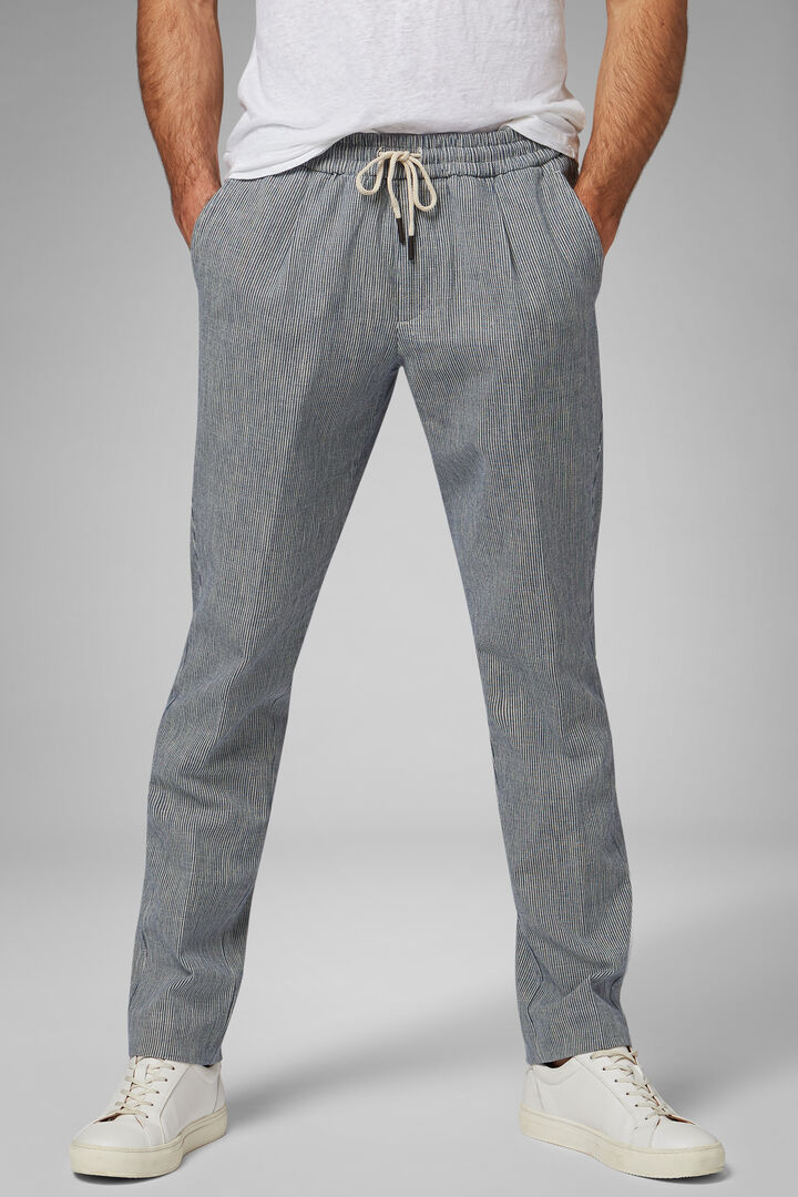 Regular Fit Striped Cotton & Linen Trousers, White - Blue, hi-res