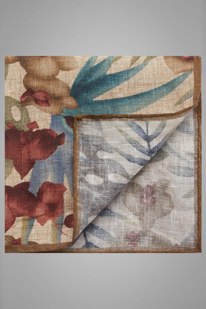 Floral Print Linen Pocket Square, Beige, hi-res