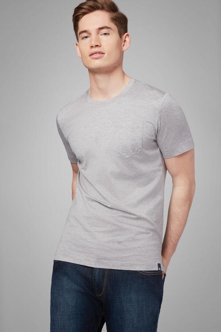 T-Shirt Nero In Jersey Di Cotone, Grigio, hi-res