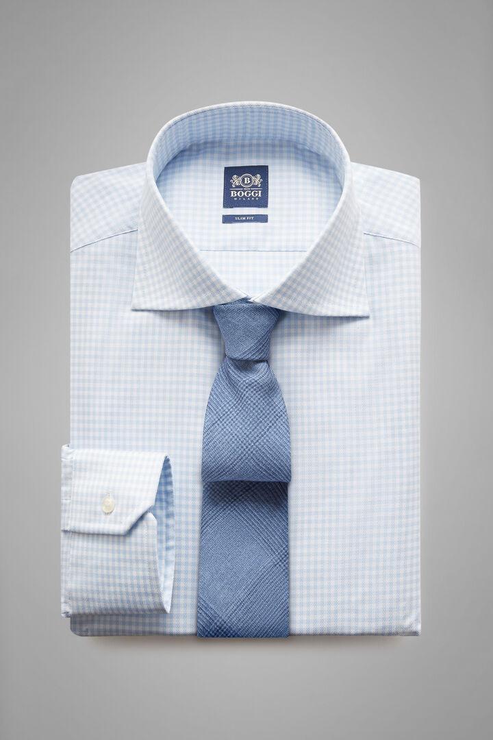 Slim Fit Sky Blue Checked Shirt With Windsor Collar, Light blue, hi-res