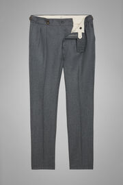 Slim Fit Wool Flannel Trousers With Adjusters, Medium grey, hi-res