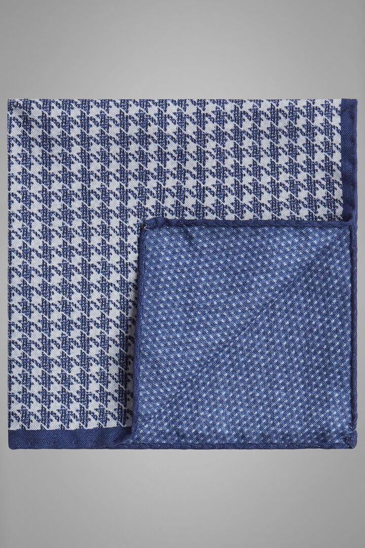 Double-Sided Printed Silk Pocket Square, Blue - White, hi-res