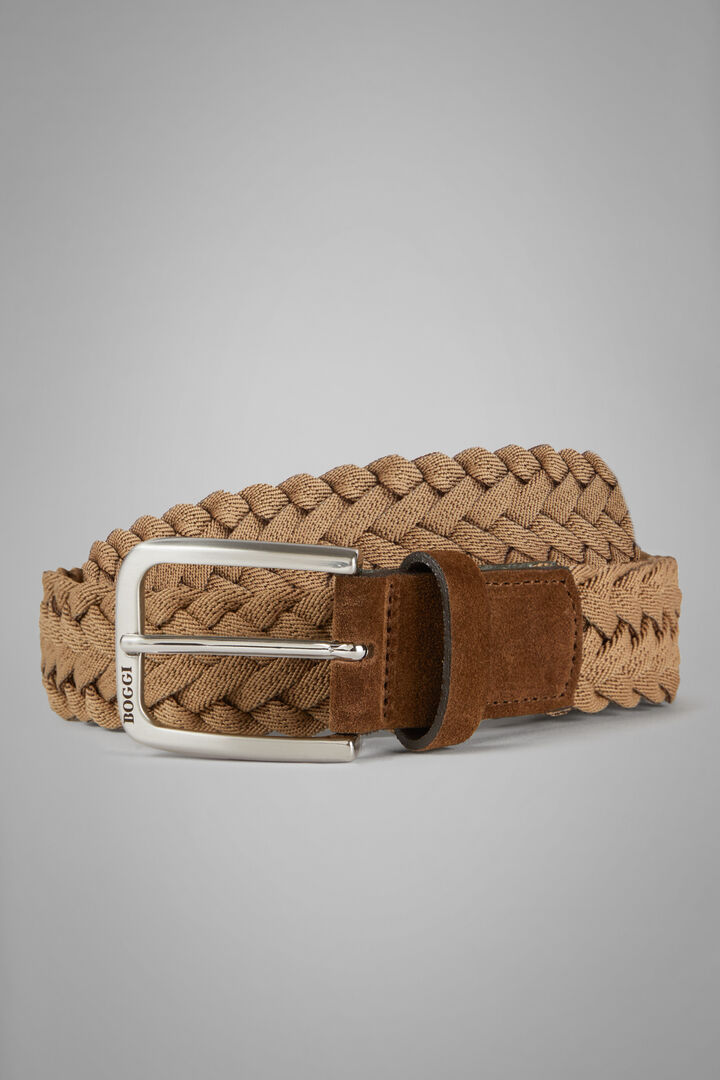 Woven Stretch Leather Belt, Brown, hi-res