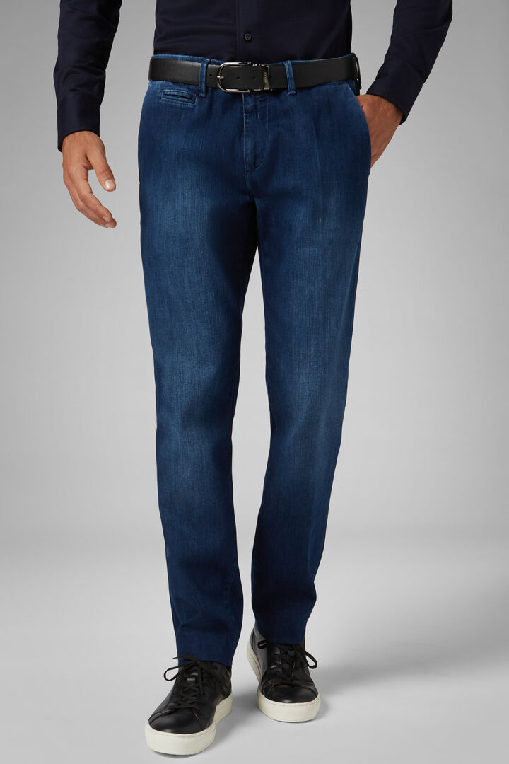 Pantalone In Denim Stretch Lavaggio Medio Slim, Denim, hi-res