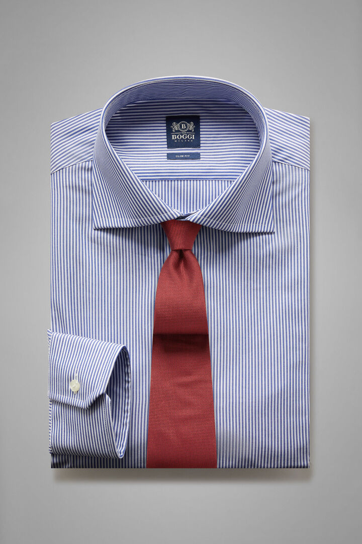 Slim Fit Blue Striped Shirt With Windsor Collar, Blue, hi-res