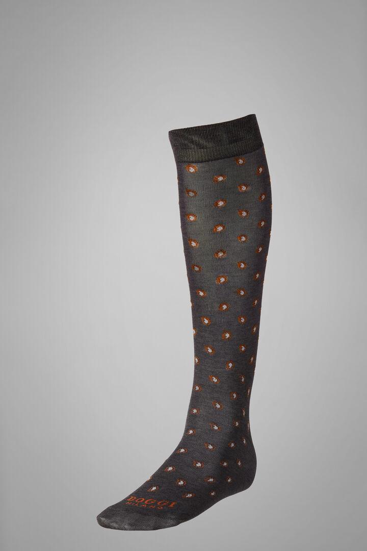 Long Socks With Paisley Motif, Grey, hi-res