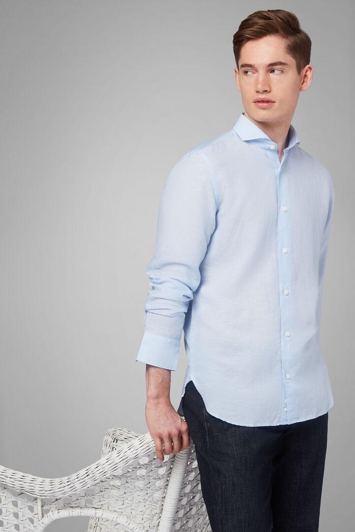 Camisa Regular Fit Azul De Lino Y Tencel Con Cuello Abierto, Azul claro, hi-res