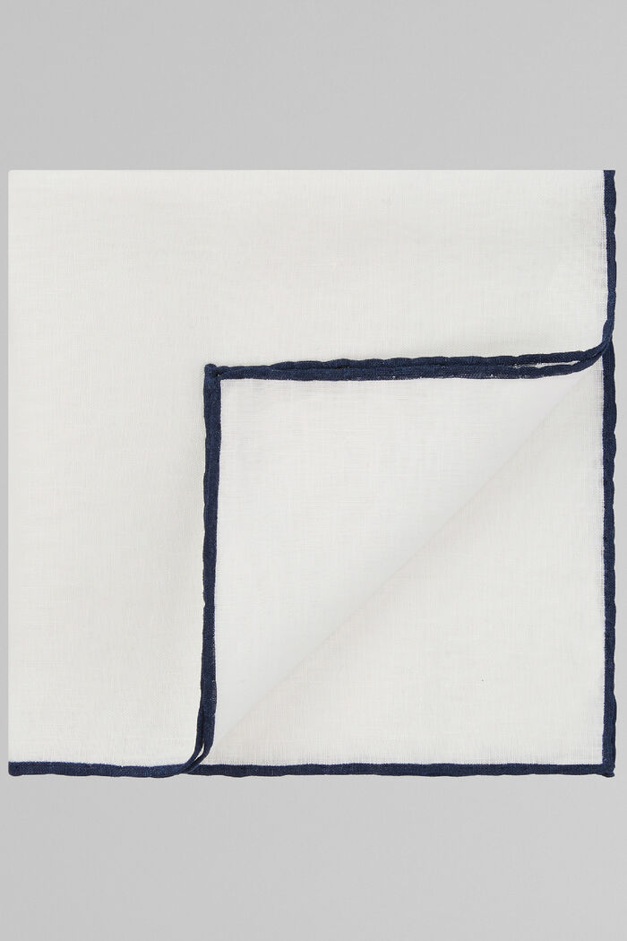 White Pure Linen Pocket Square With Blue Border, , hi-res