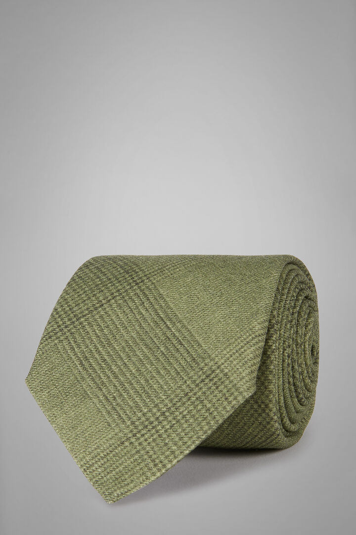 Bedruckte Prince Of Wales Krawatte Aus Wolle, Grün, hi-res