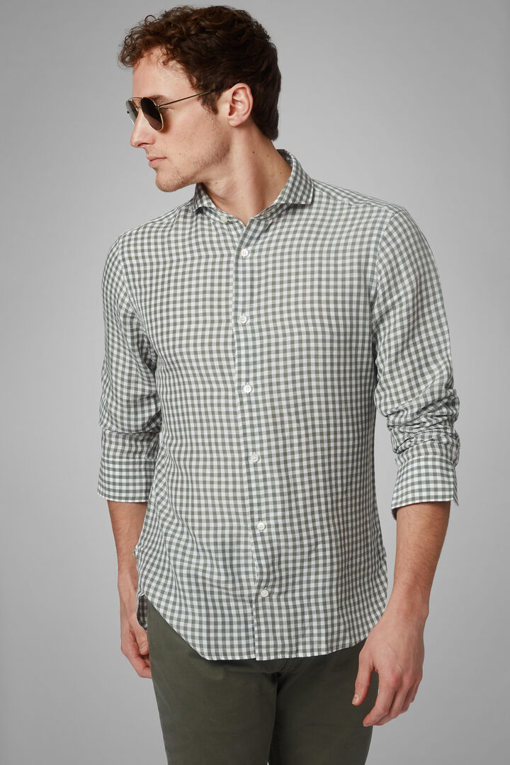 Regular Fit Military Green Gingham Shirt With Open Collar, Military Green, hi-res