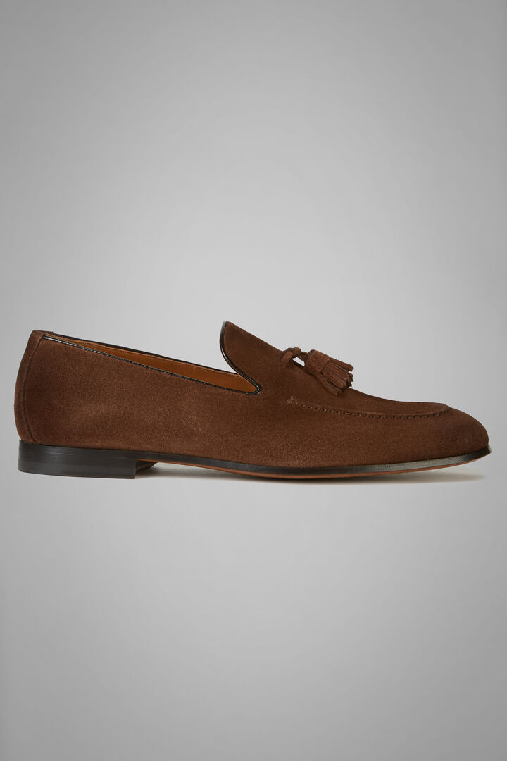 Suede Loafers With Tassel Details, Brown, hi-res