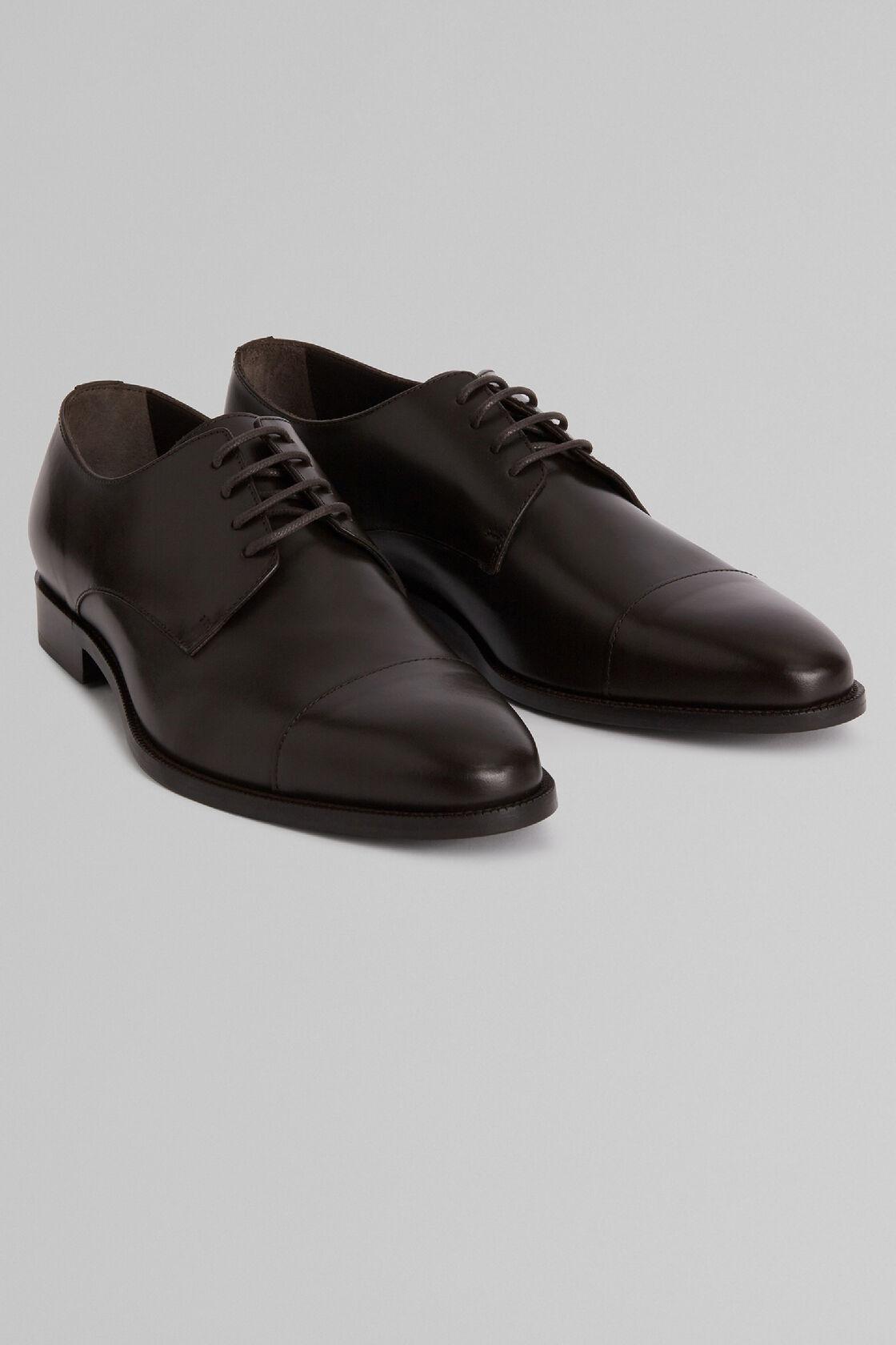 Derby-Schuh Aus Glattleder Mit Ledersohle, Dunkelbraun, hi-res