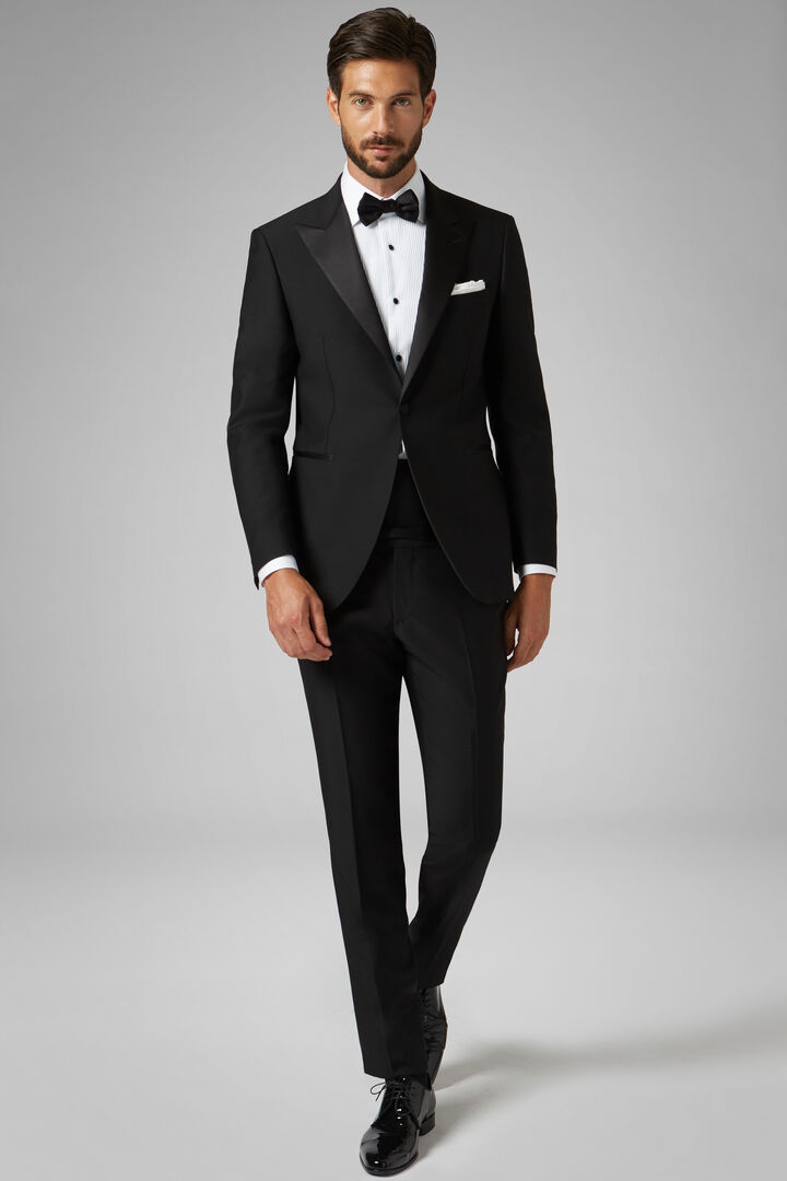 Black Cannes Dinner Suit With Peak Lapels, Black, hi-res