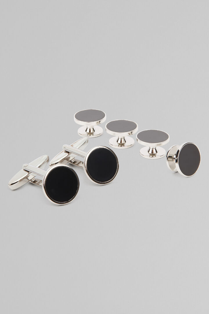 Black Tie Metal Button Cufflinks, Black, hi-res