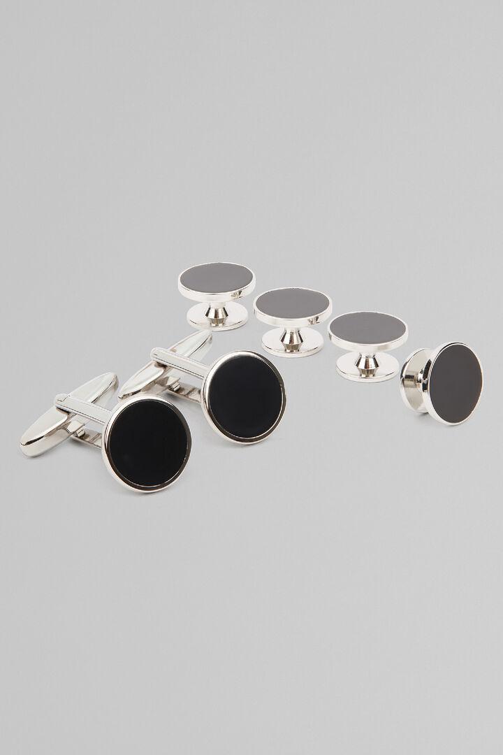 Gemelli In Metallo Bottoni Tuxedo, Nero, hi-res