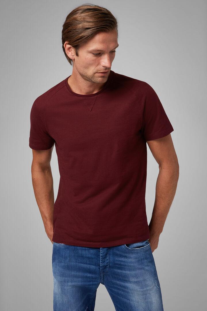 T-Shirt Bordeaux In Jersey Di Cotone, Bordeaux, hi-res