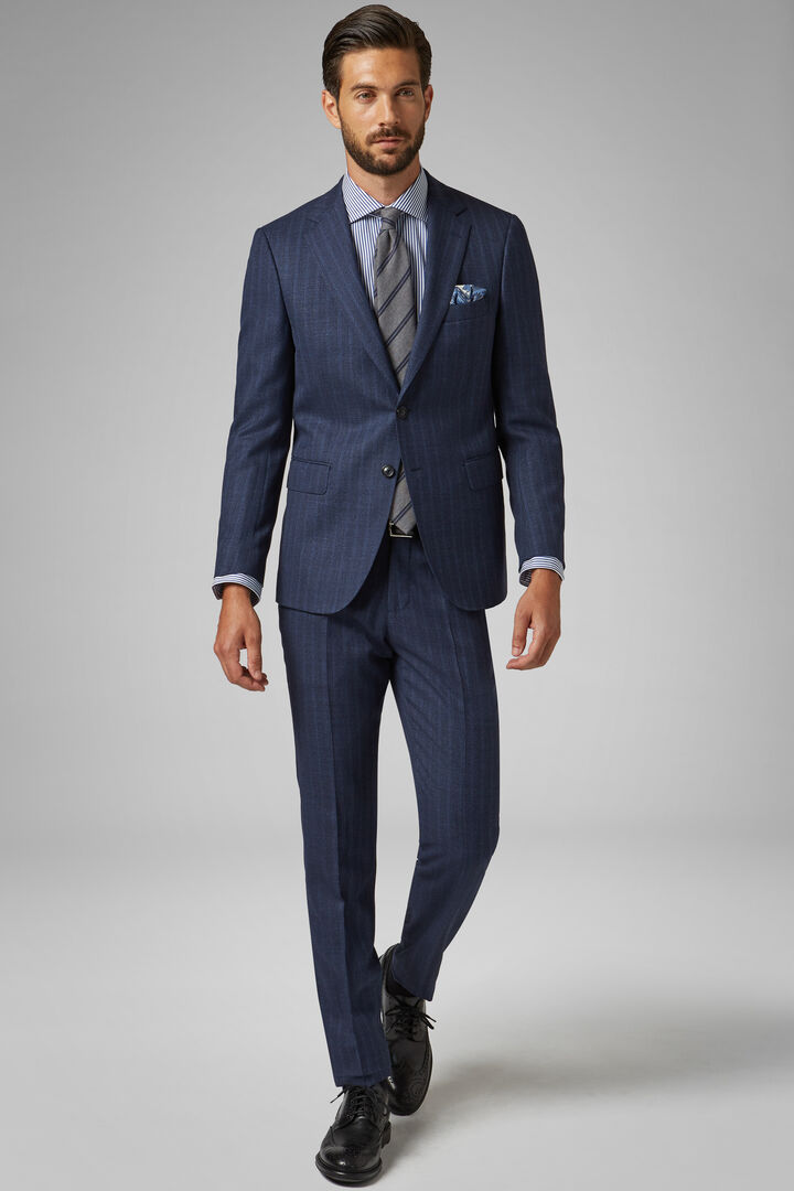 Blue Wool Paris Suit, Blue, hi-res
