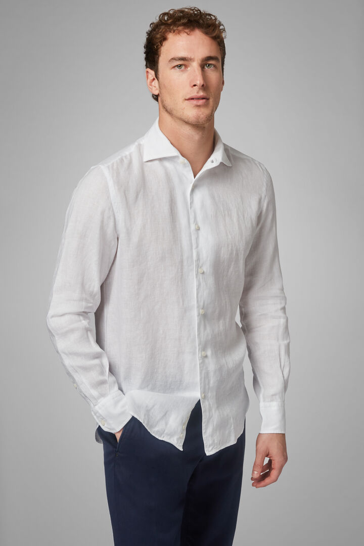 Regular Fit Dark Brown Shirt With Cuban Collar, White, hi-res