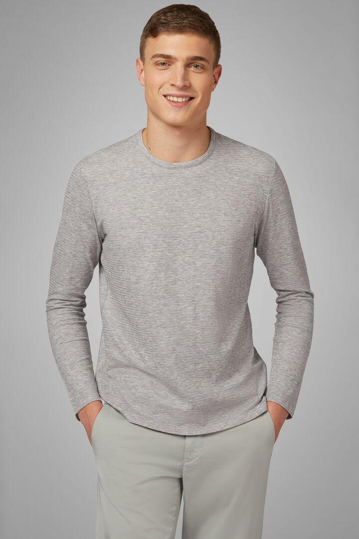 T-Shirt Grigia In Jersey Di Cotone, Grigio, hi-res