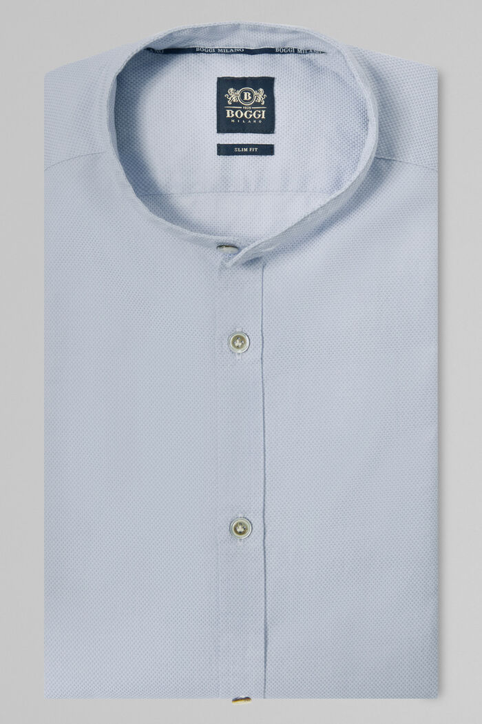 CAMICIA AZZURRA COLLO COREANO SLIM FIT, , hi-res