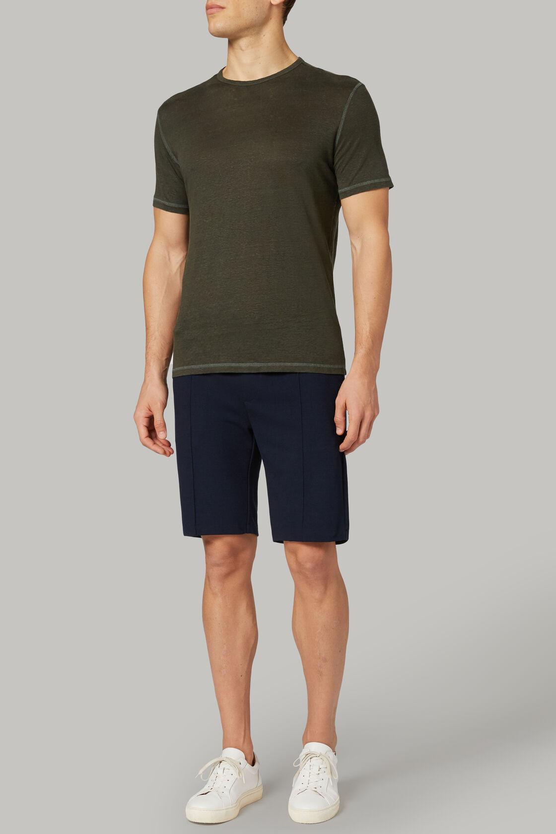 T-shirt aus elastischem leinenjersey, Militärgrün, hi-res