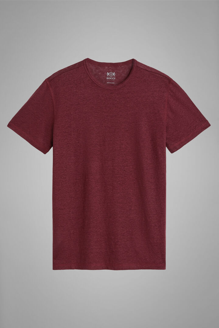 T-Shirt Bordeaux In Jersey Di Lino Stretch, Bordeaux, hi-res