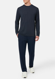 T-shirt lana merino e filato tecnico manica lunga, Navy, hi-res