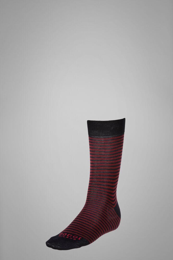 Short Socks With Striped Motif, Navy - Burgundy, hi-res