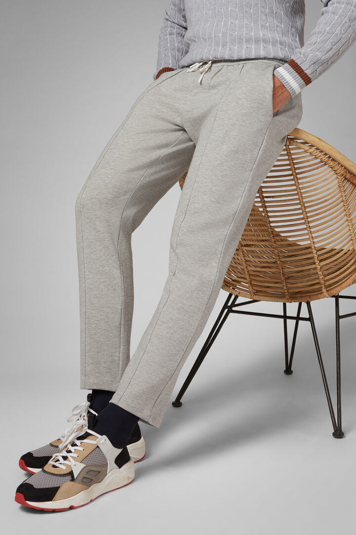 Grey Stretch Cotton Joggers, Grey, hi-res