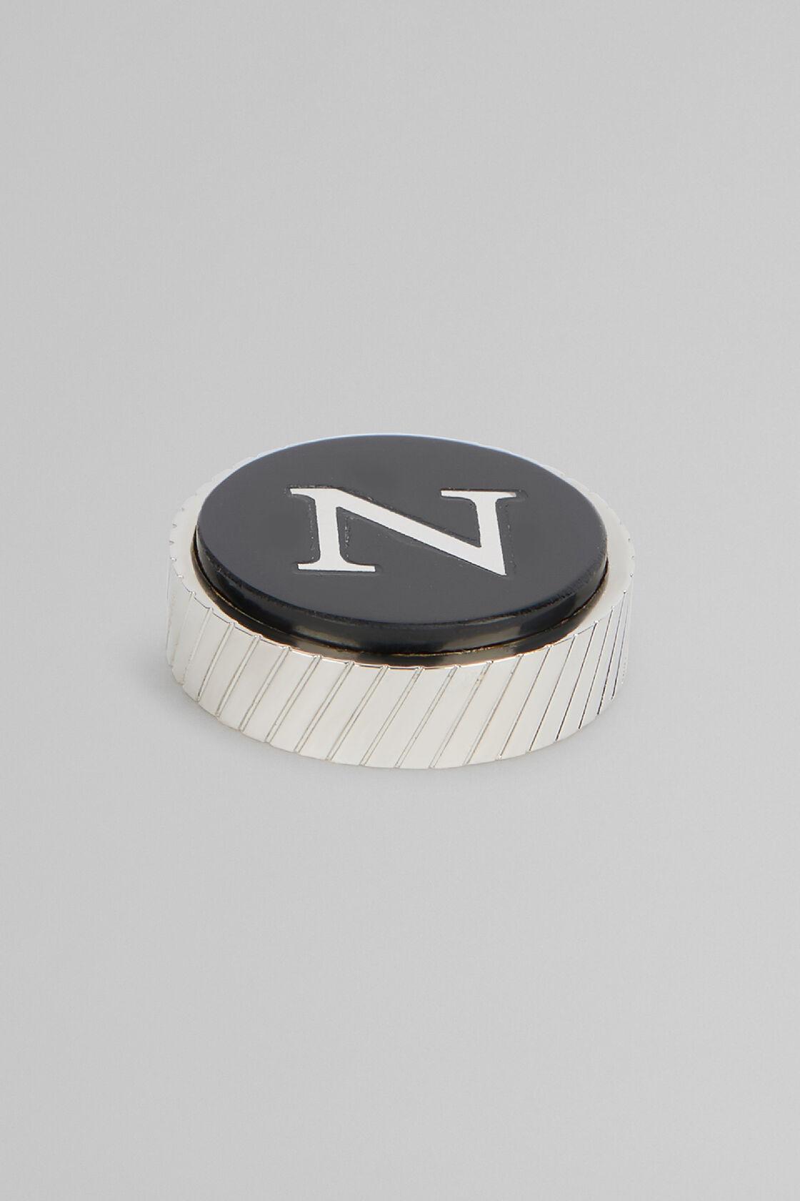 Metal Letter N Cufflinks, Black, hi-res