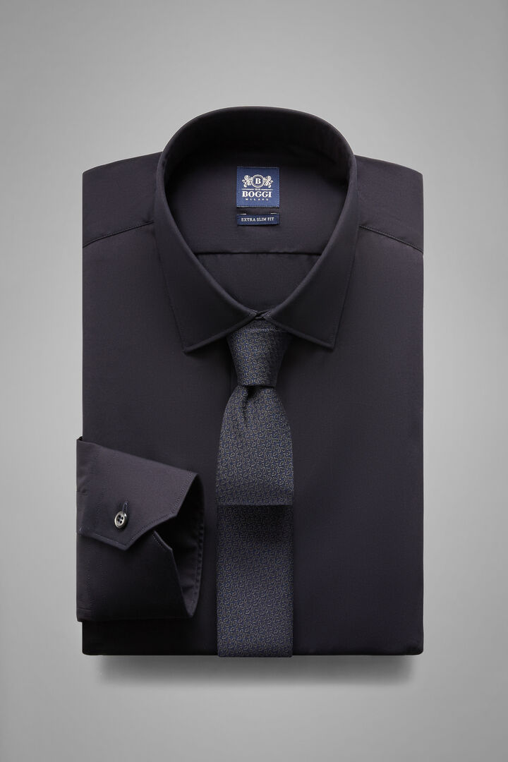 Extra Slim Fit Navy Blue Shirt With Tokyo Collar, Navy blue, hi-res