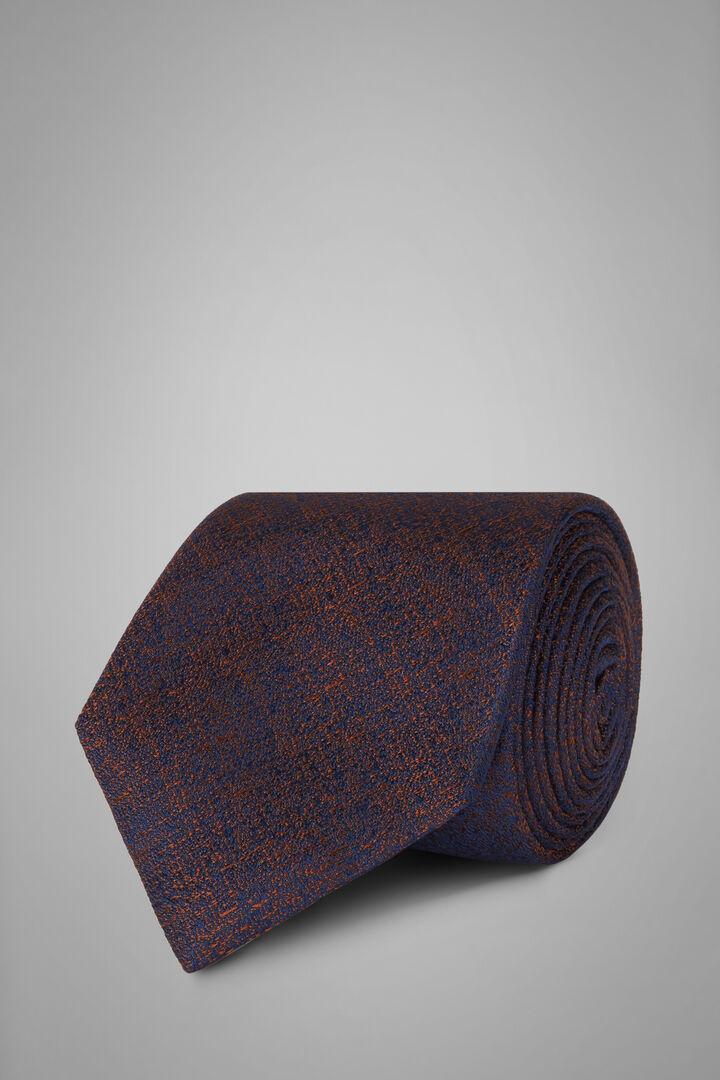 Einfarbige Krawatte Aus Seidenjacquard, Blau - Dunkelbraun, hi-res