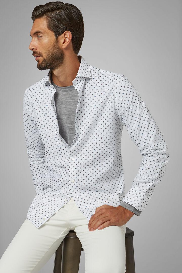 Slim Fit White/Pink/Dark Brown Shirt With Florence Collar, White - Dark brown, hi-res