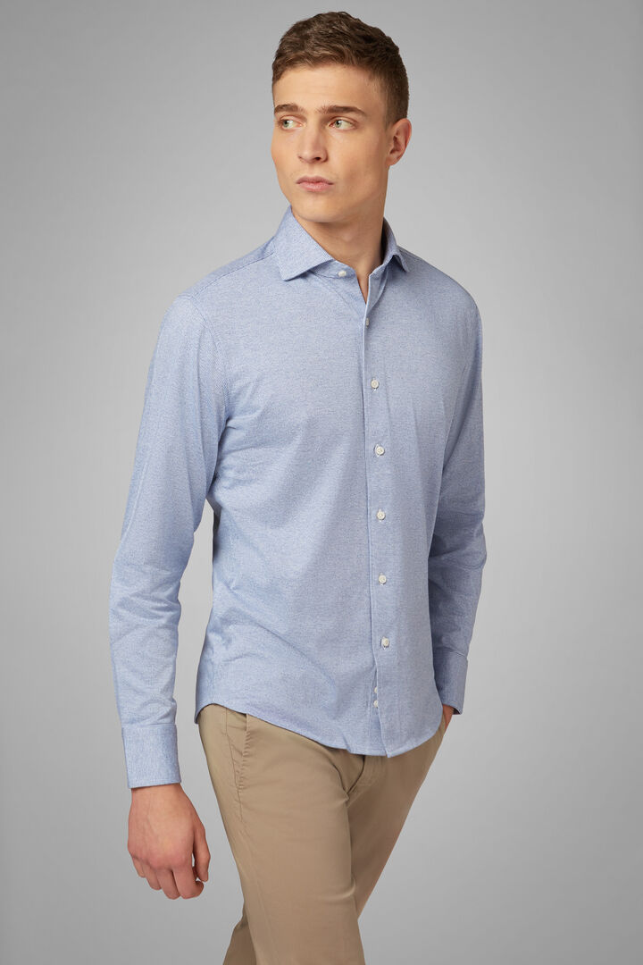 Slim Fit Sky Blue Casual Shirt With Closed Collar, Light blue, hi-res
