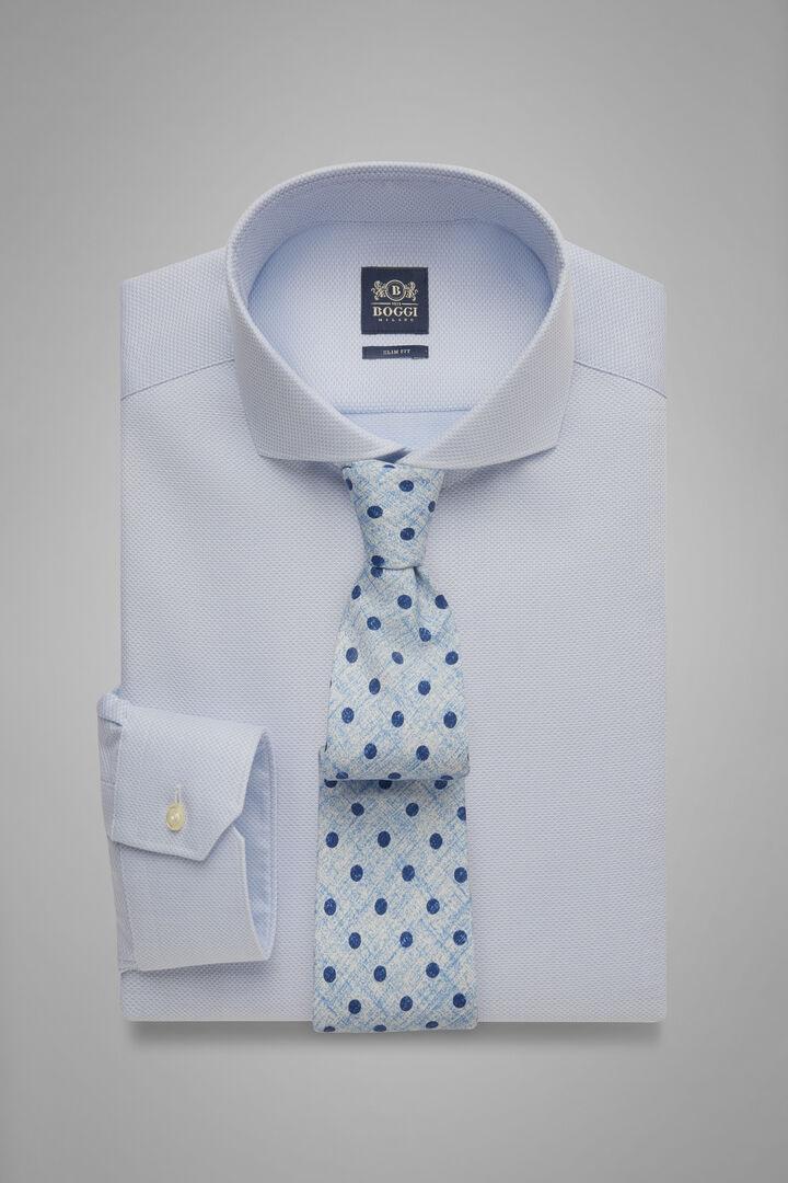 Slim Fit Sky Blue Honeycomb Textured Shirt With Naples Collar, Light blue, hi-res