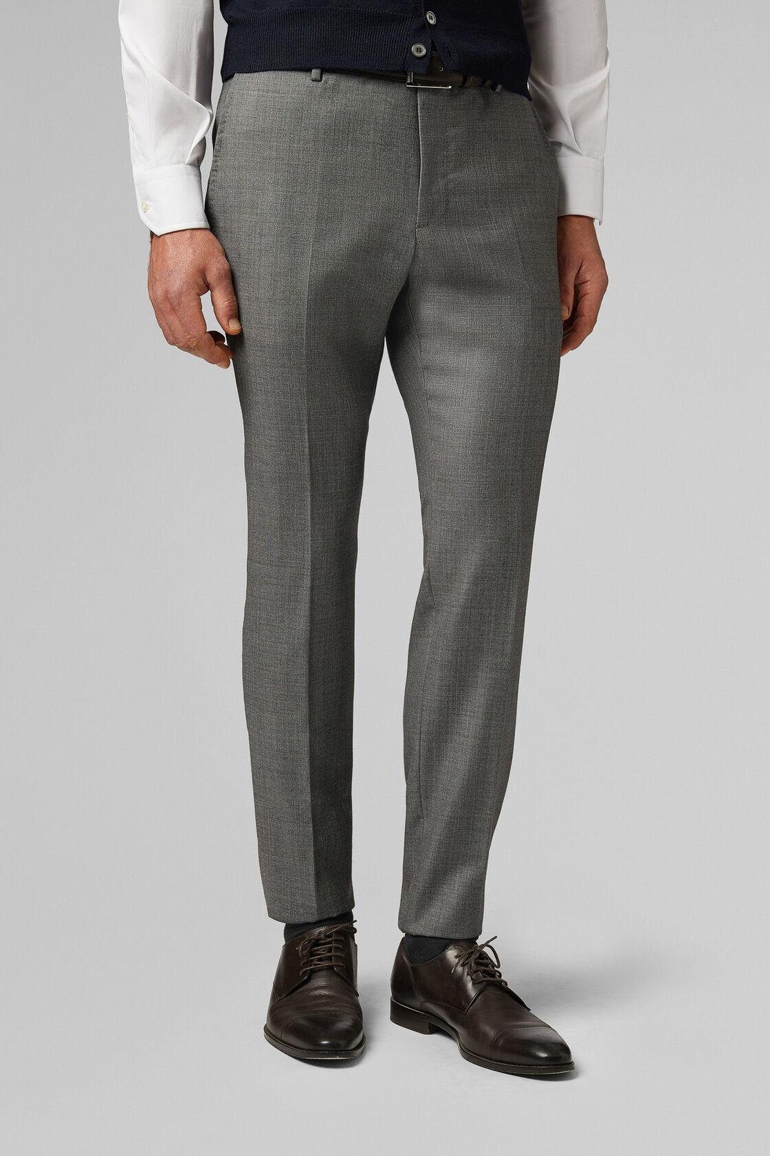 Pantalone Da Abito Grigio In Lana Slim, Grigio, hi-res