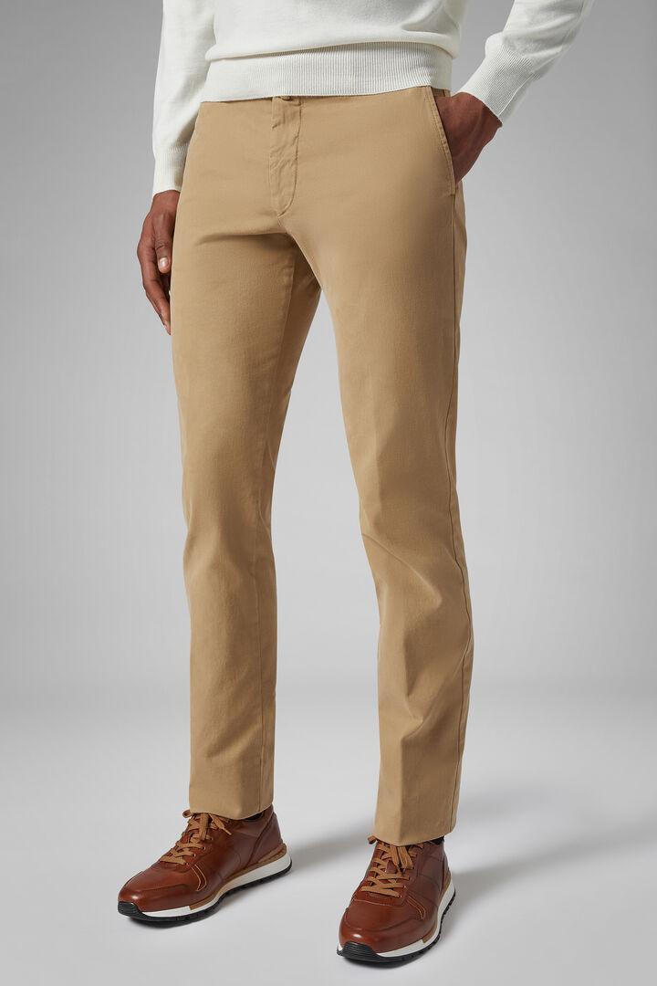 Pantalon En Satin De Coton Stretch Coupe Ajustée, Beige, hi-res